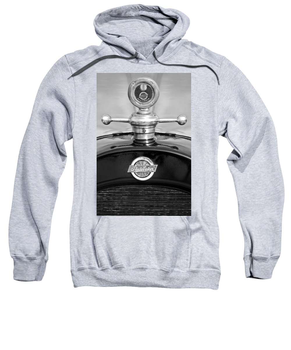 1922 Studebaker Touring Sweatshirt featuring the photograph 1922 Studebaker Touring Hood Ornament 3 by Jill Reger