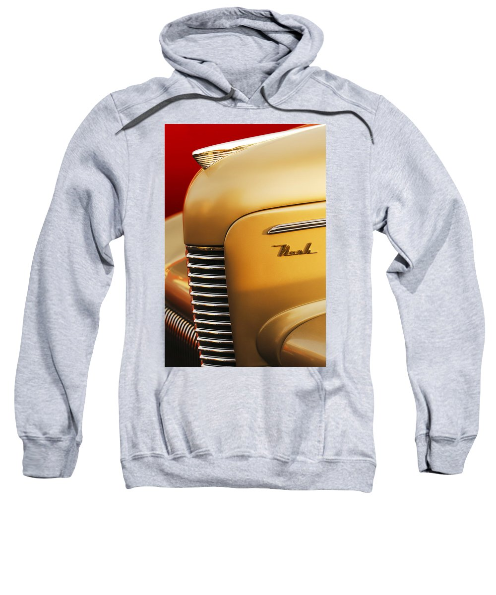 1940 Nash Sedan Grille Sweatshirt featuring the photograph 1940 Nash Sedan Grille by Jill Reger