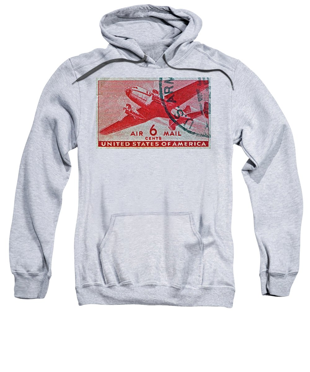 1941 Sweatshirt featuring the photograph 1941 - 1944 Six Cents Air Mail Stamp - U. S. Army Cancelled by Bill Owen