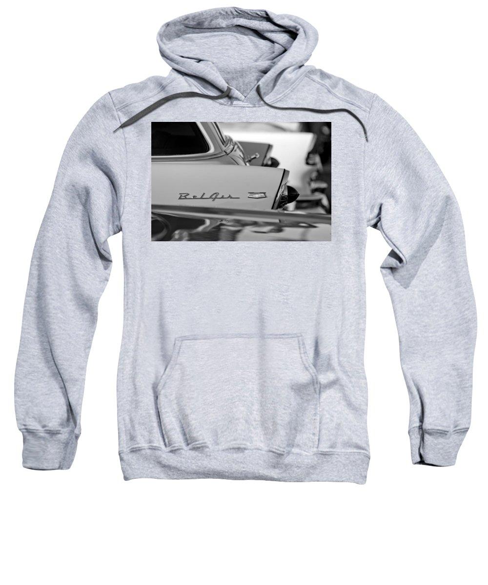 1956 Chevrolet Belair Nomad Rear End Emblem Sweatshirt featuring the photograph 1956 Chevrolet Belair Nomad Rear End Emblem by Jill Reger