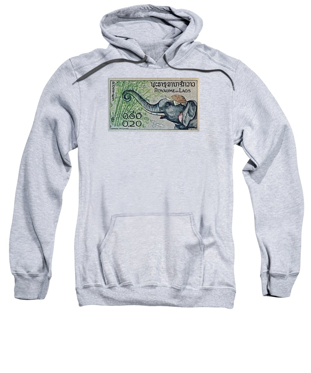 1958 Sweatshirt featuring the photograph 1958 Laos Elephant Stamp II by Bill Owen