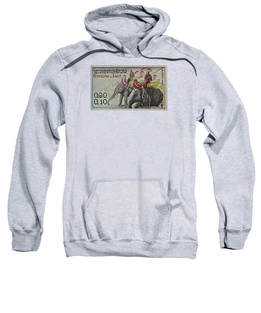 1958 Sweatshirt featuring the photograph 1958 Laos Elephant Stamp IIi by Bill Owen