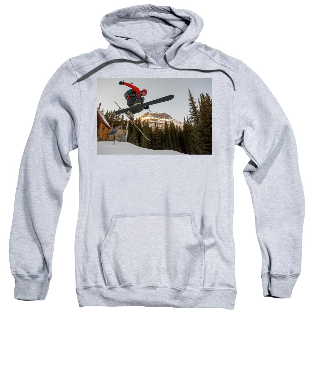 Full Length Sweatshirt featuring the photograph A Man Jumping On His Skis, San Juan by Kennan Harvey