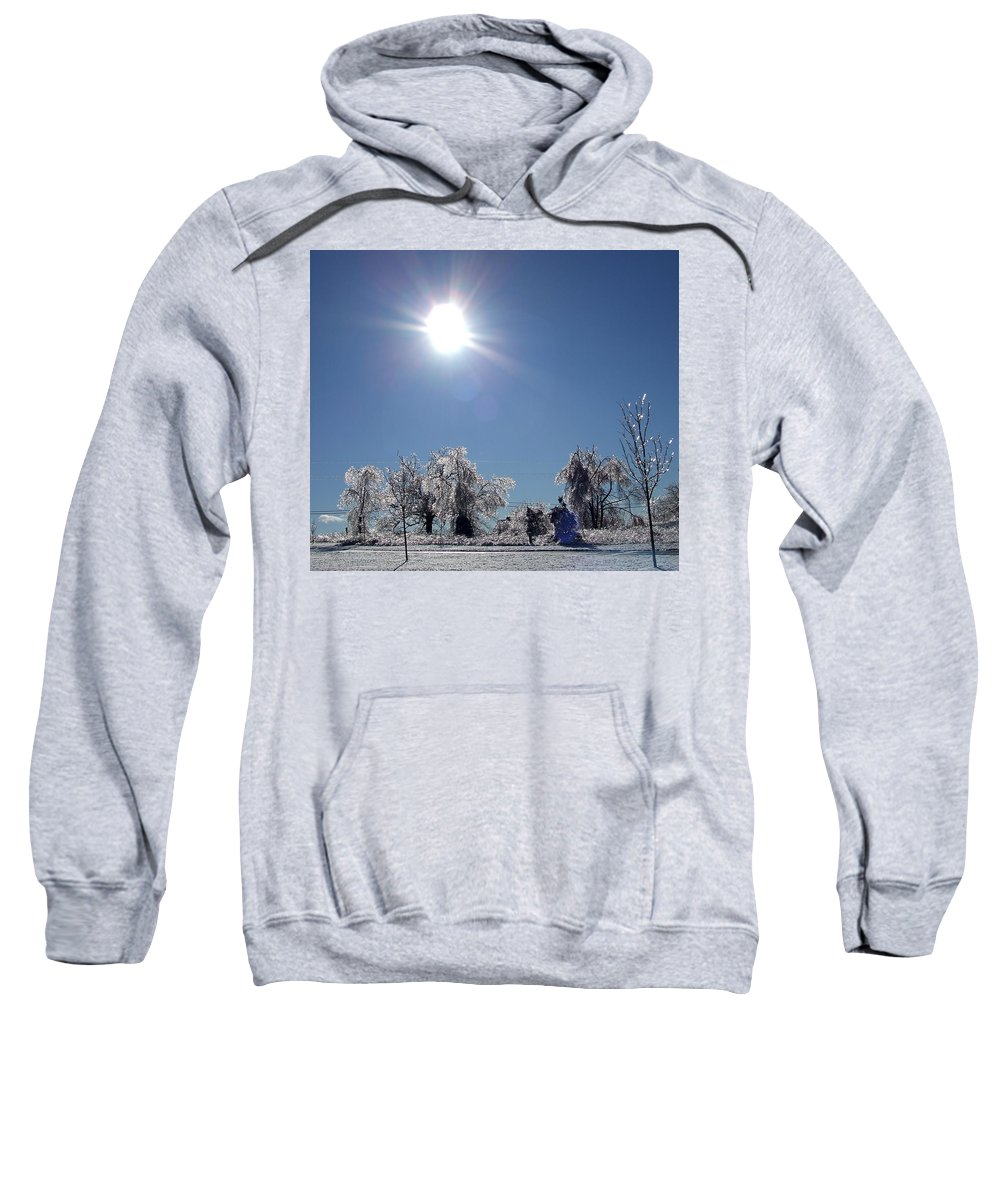 Ragged Sweatshirt featuring the photograph After The Ice Storm by Susan Wyman