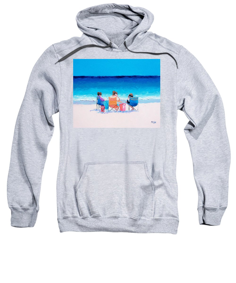 Beach Sweatshirt featuring the painting Beach Painting 'girl Friends' By Jan Matson by Jan Matson