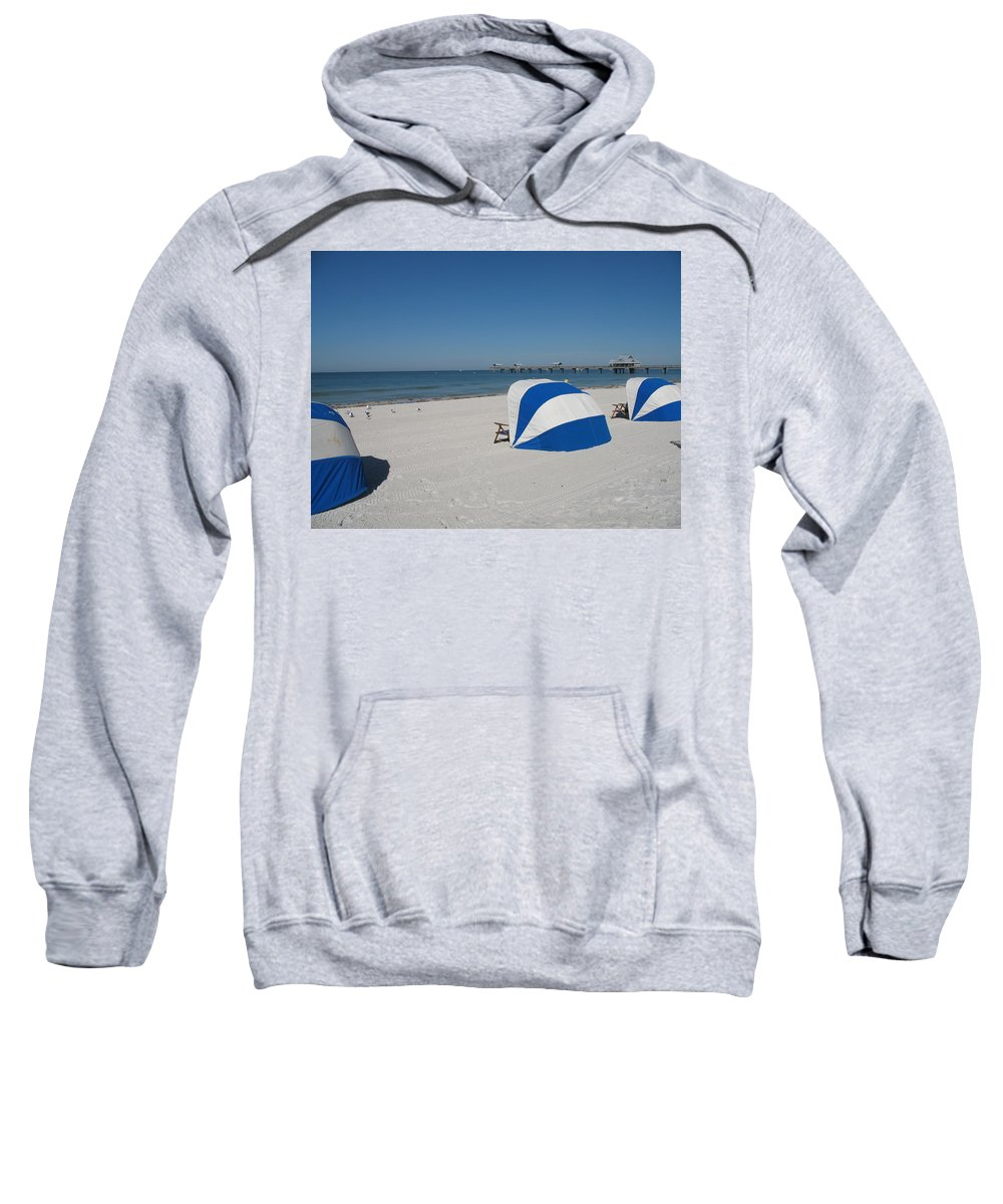 Beach Sweatshirt featuring the photograph Beach With Beachchairs by Christiane Schulze Art And Photography