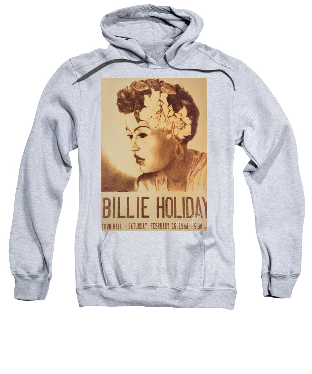 Watercolor Sweatshirt featuring the painting Billie Holiday by JL Vaden