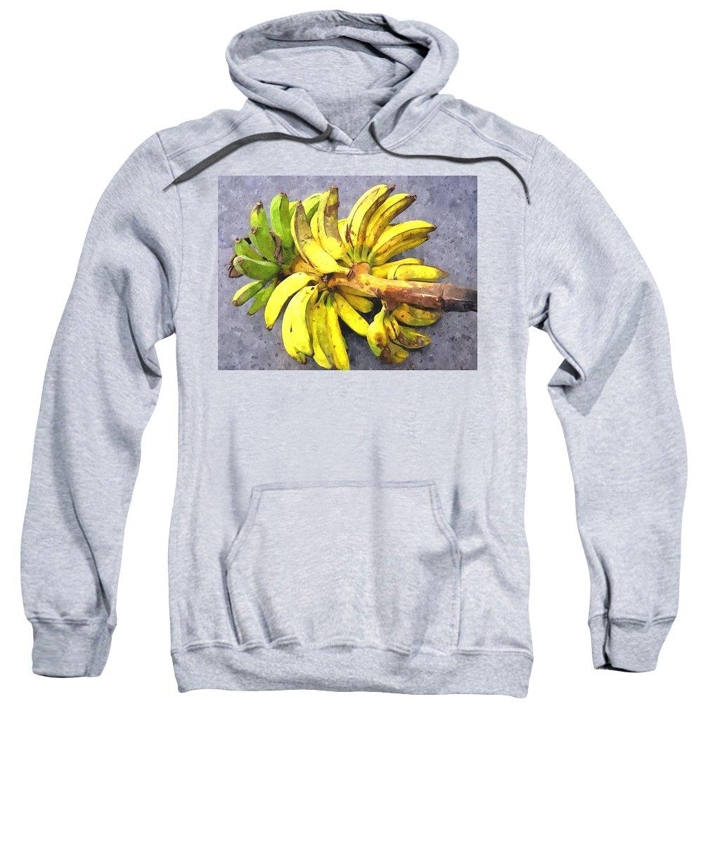 Banana Sweatshirt featuring the painting Bunch Of Banana by Jeelan Clark