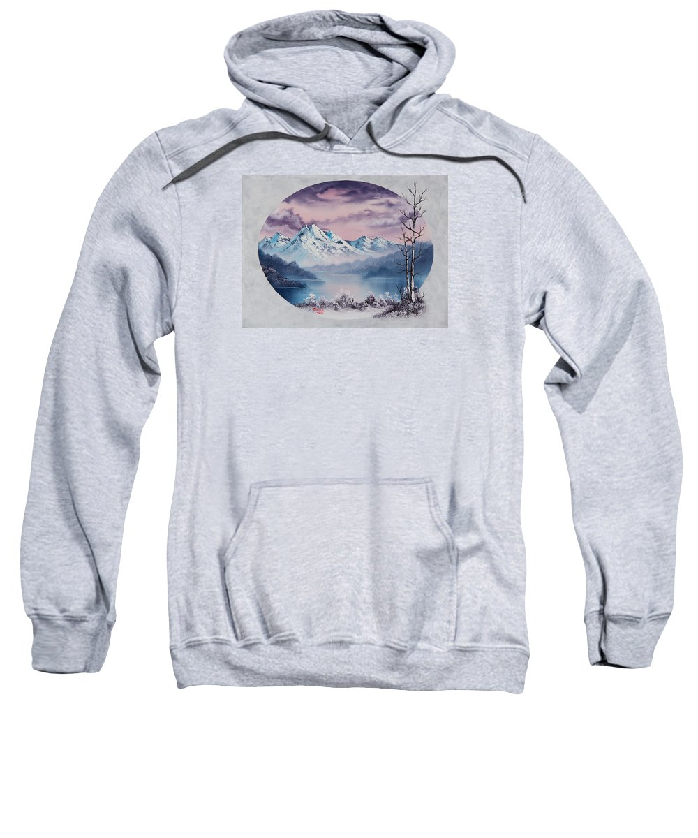 Landscape Sweatshirt featuring the painting Crimson Frost Oval by Chris Steele