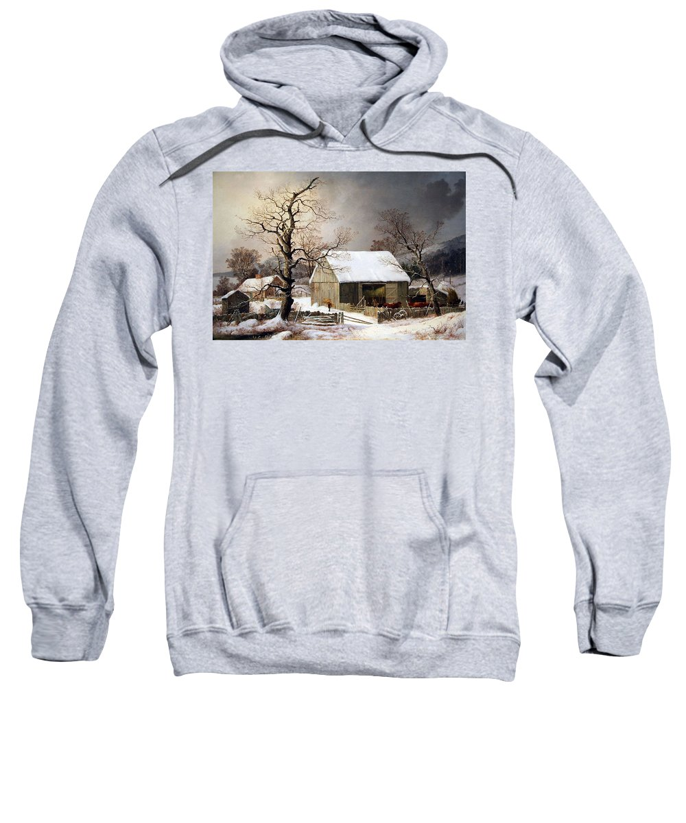 Winter In The Country Sweatshirt featuring the photograph Durrie's Winter In The Country by Cora Wandel