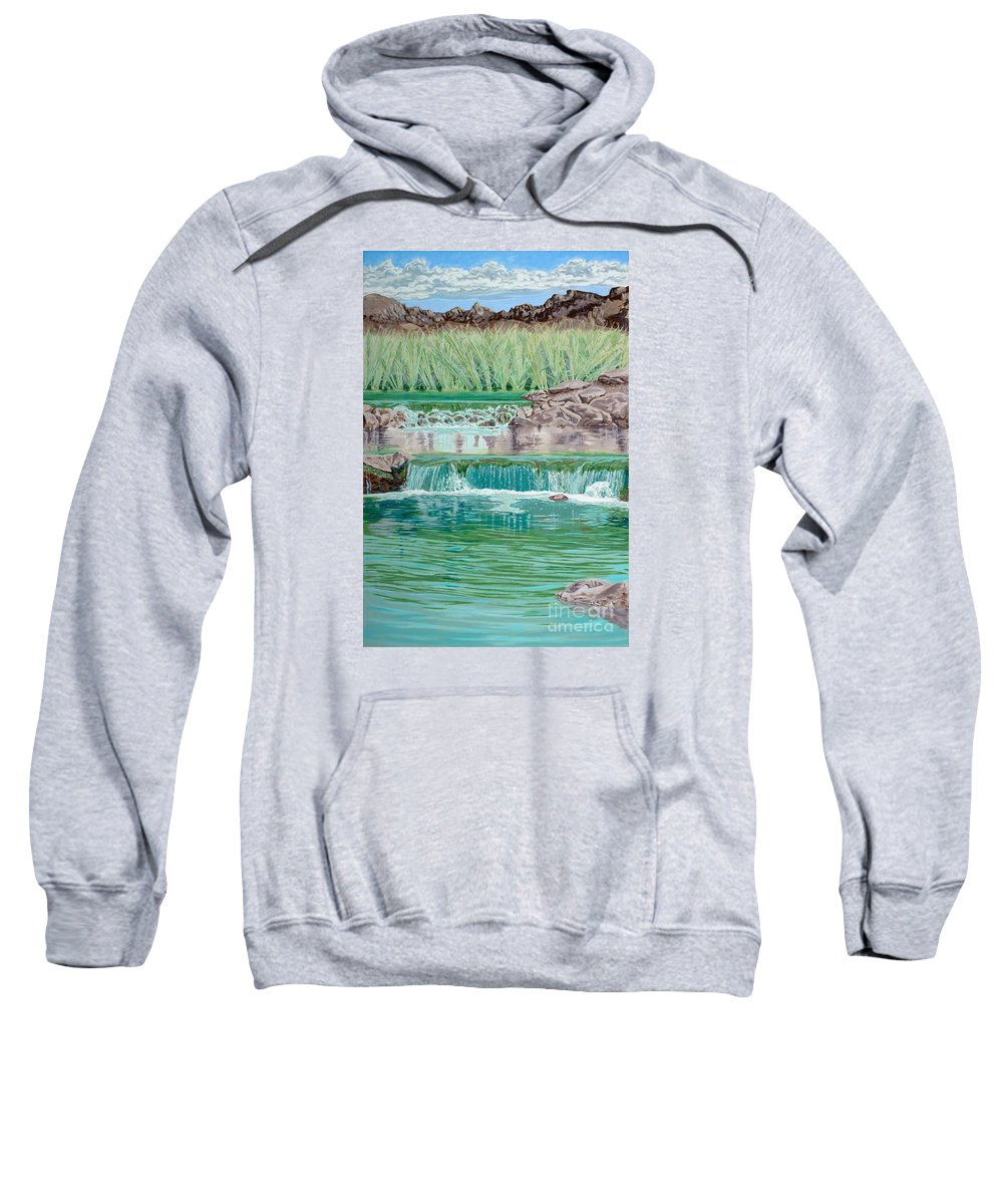 Water Falls Sweatshirt featuring the painting Eighteenth Hole Ball In The Water by John Wilson