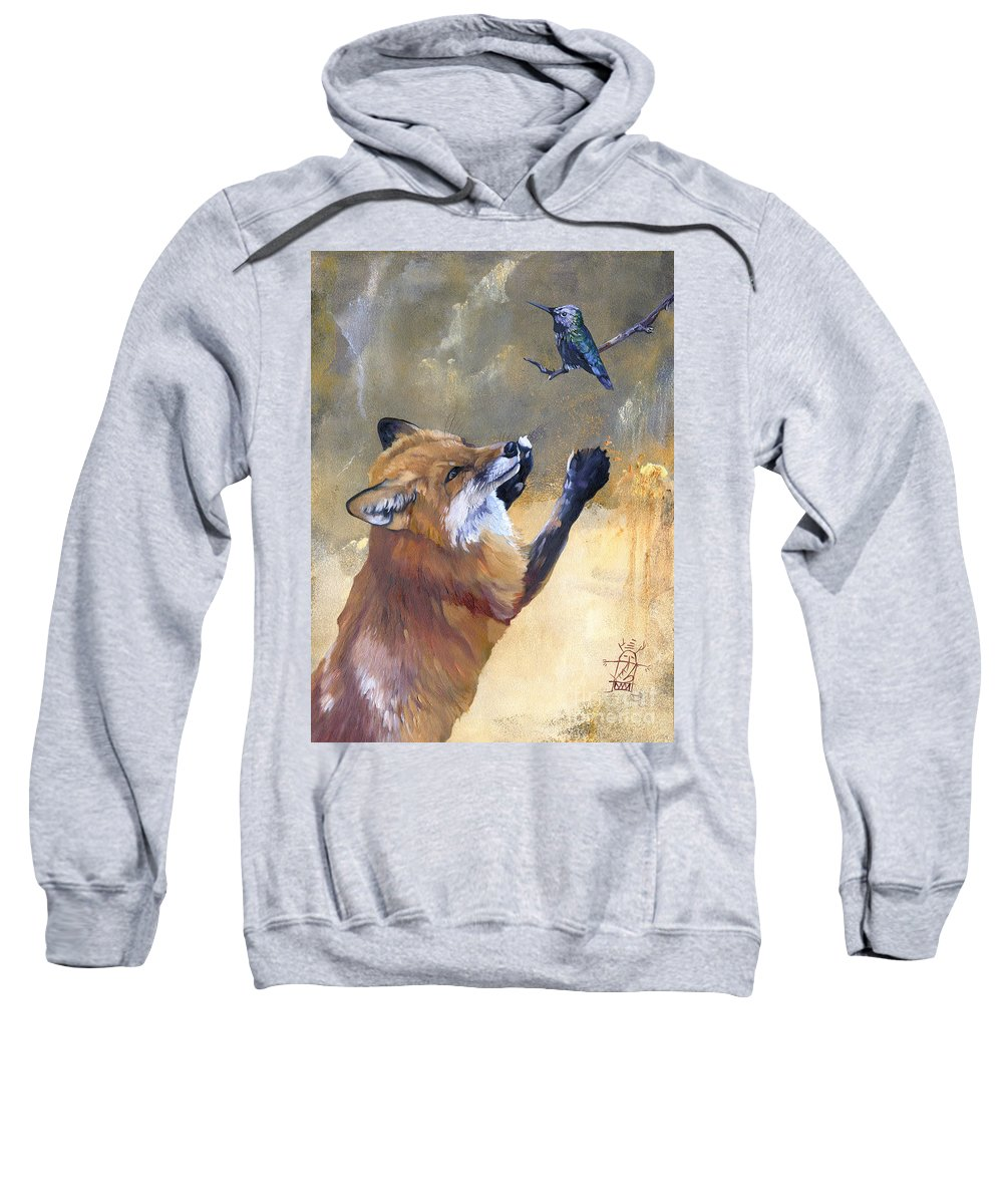 Wildlife Art Sweatshirt featuring the painting Fox dances for Hummingbird by J W Baker