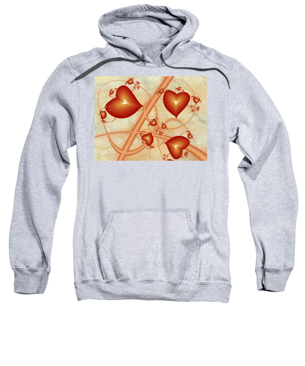 Digital Art Sweatshirt featuring the digital art Fractal Red Hearts by Gabiw Art