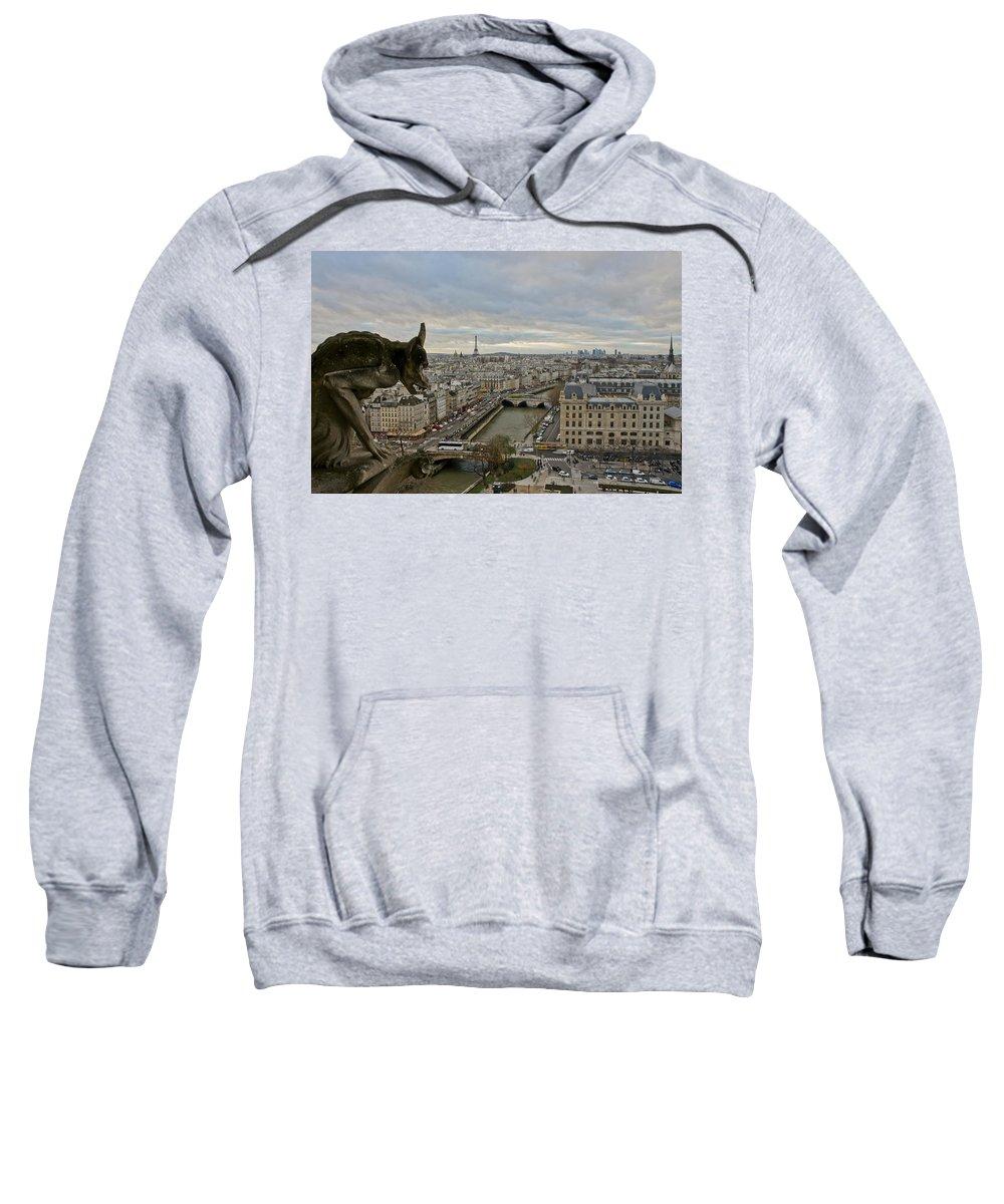 Gargoyle Sweatshirt featuring the photograph Gargoyle Overlooking Paris by Brian Kamprath