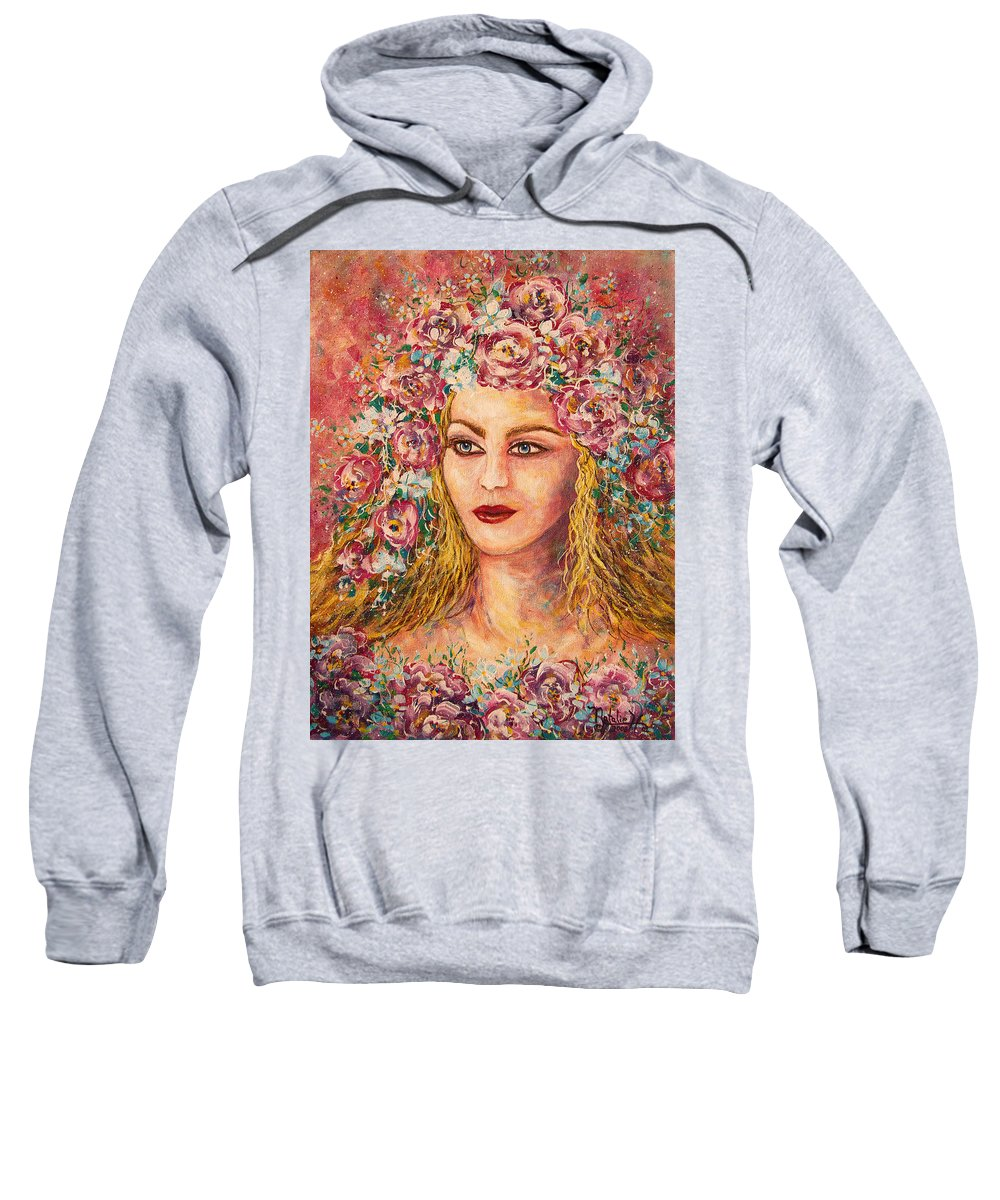 Goddess Sweatshirt featuring the painting Good Fortune Goddess by Natalie Holland