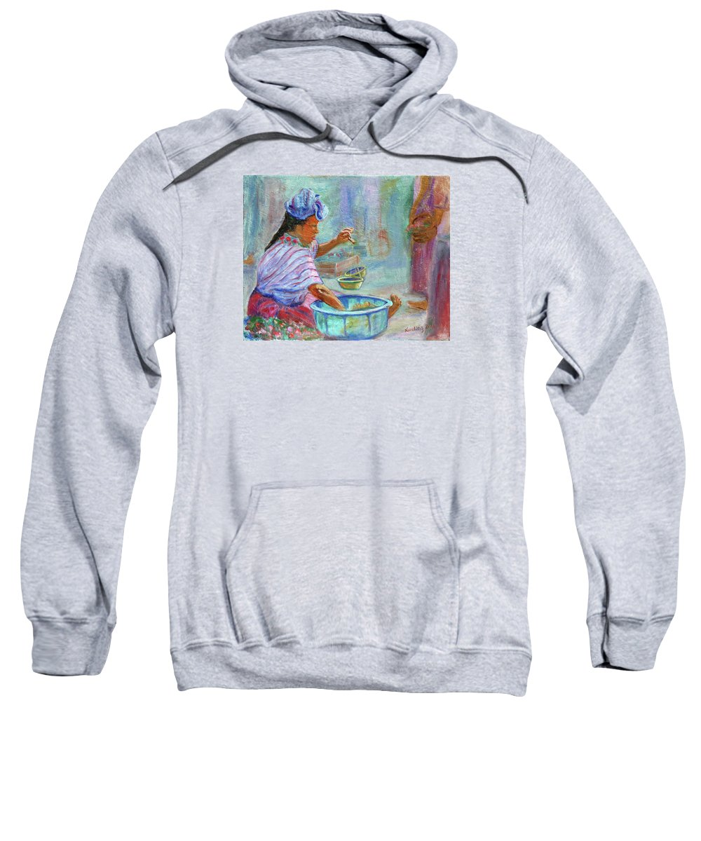 Figurative Sweatshirt featuring the painting Guatemala Impression Iv by Xueling Zou
