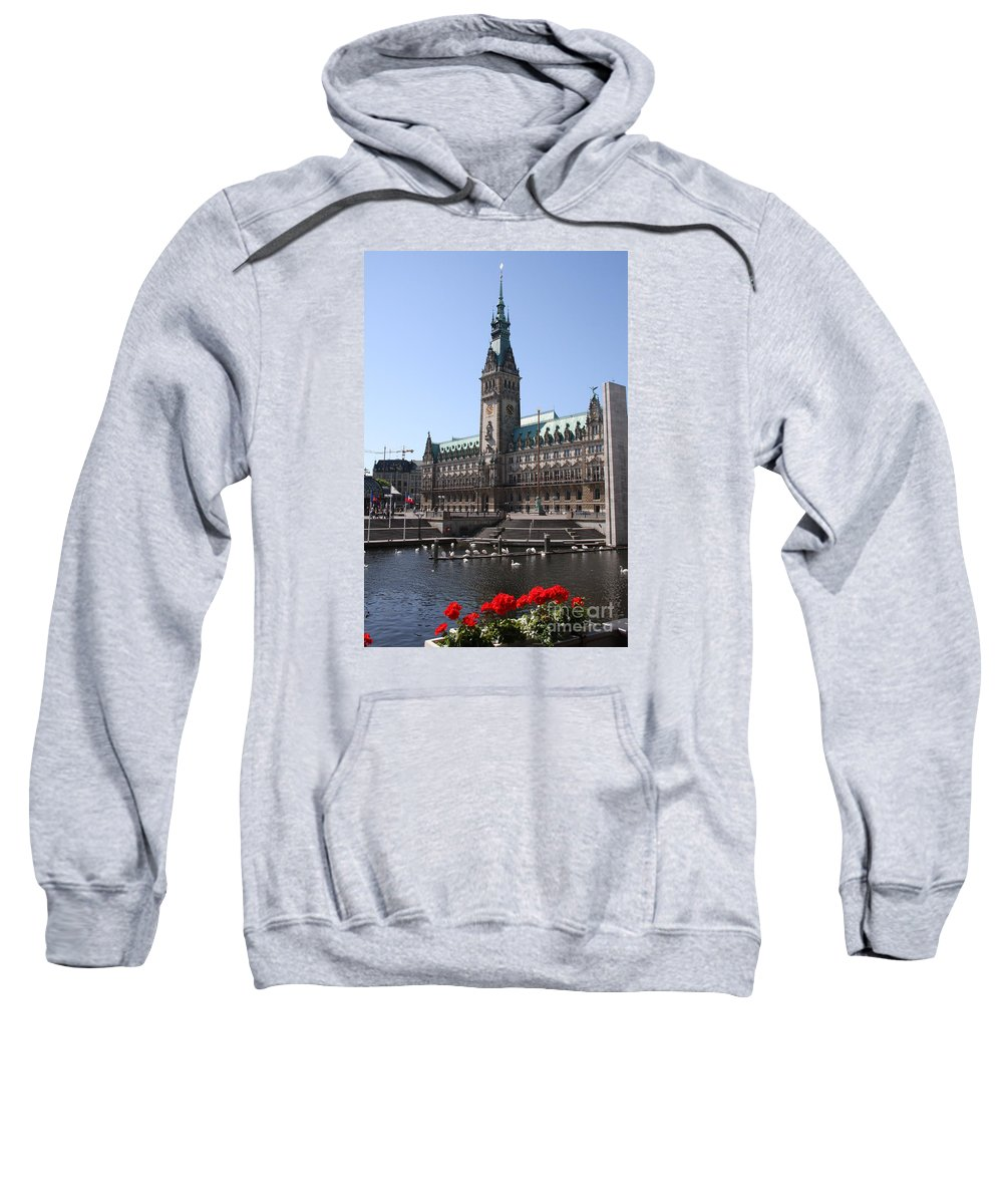 Hamburg Sweatshirt featuring the photograph Hamburg - City Hall With Fleet - Germany by Christiane Schulze Art And Photography