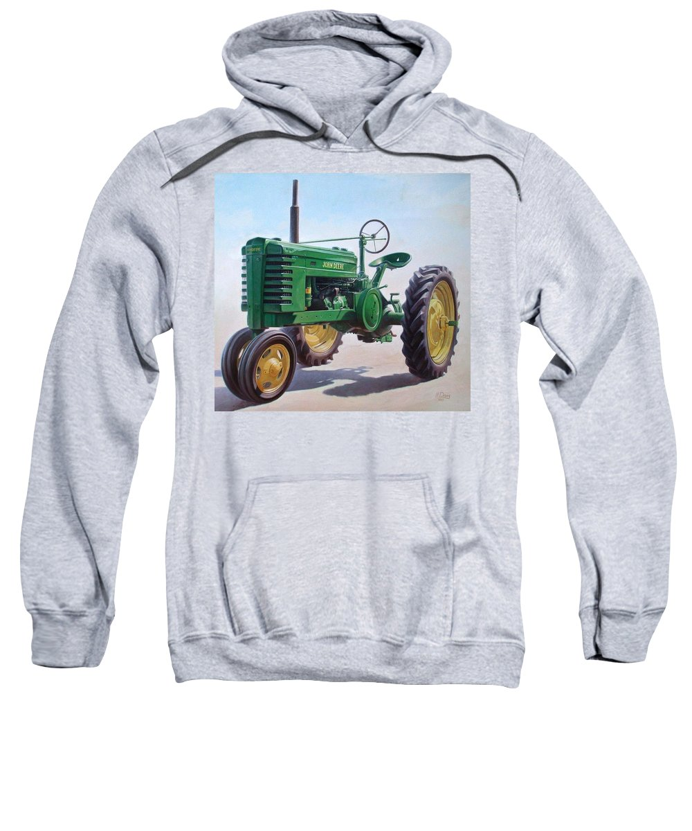 Tractor Sweatshirt featuring the painting John Deere Tractor by Hans Droog