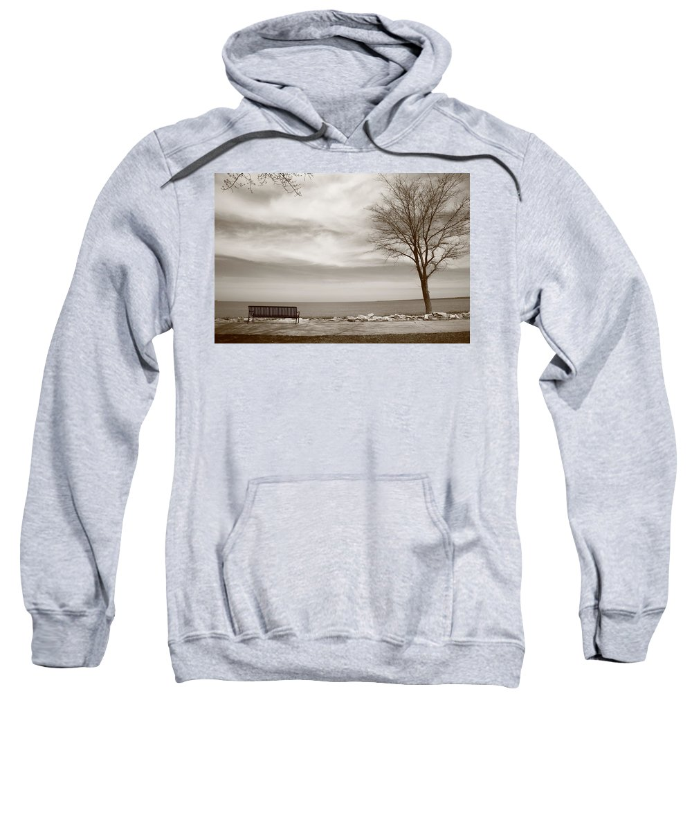 Art Sweatshirt featuring the photograph Lake And Park Bench by Frank Romeo