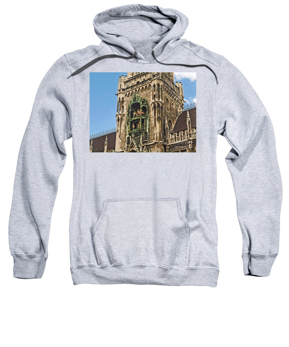 Glockenspiel Sweatshirt featuring the photograph Mechanical Clock In Munich Germany by Howard Stapleton