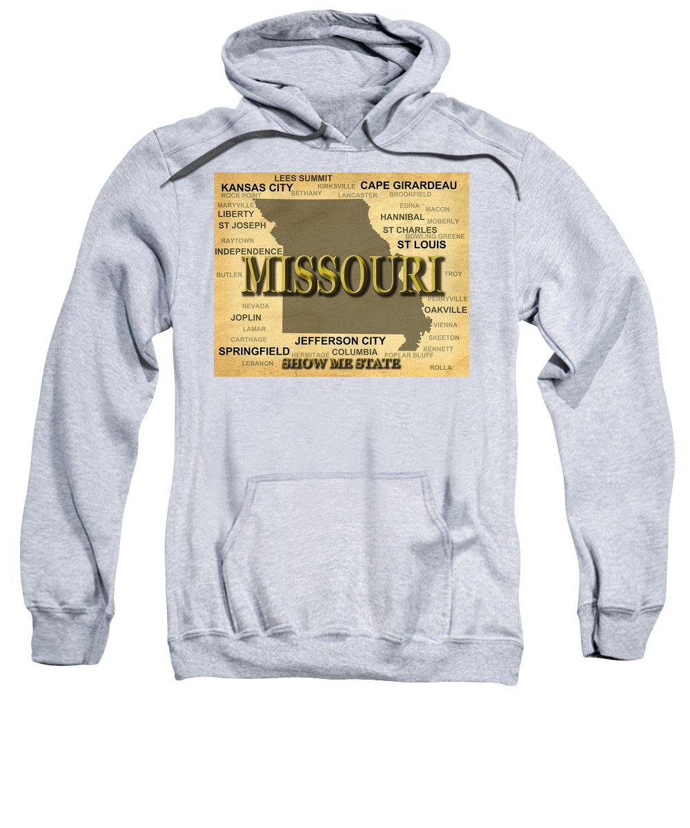 Missouri Sweatshirt featuring the photograph Missouri State Pride Map Silhouette by Keith Webber Jr