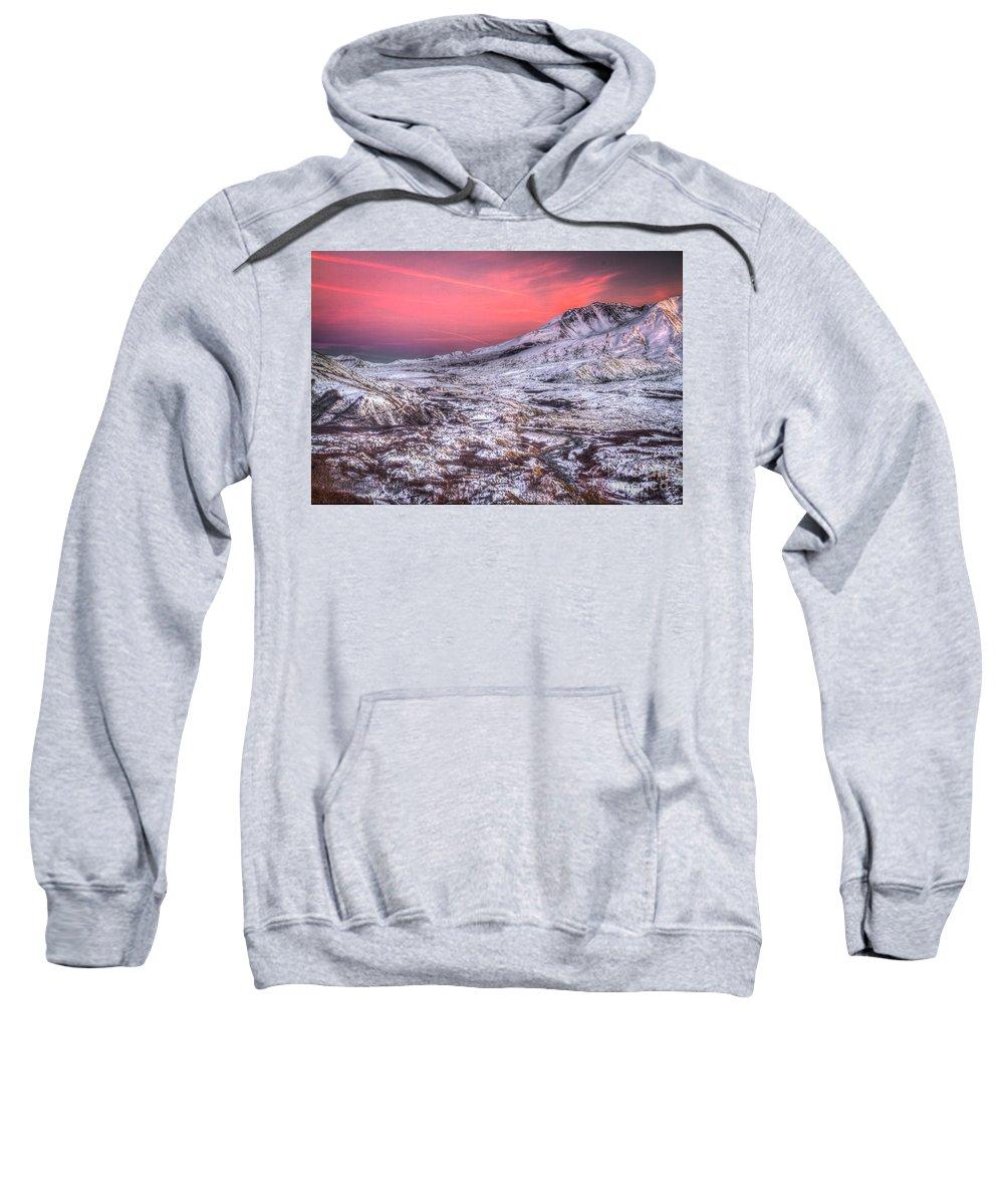 Mt St Helens Sweatshirt featuring the photograph Mt. St. Helens Sunset by Matt Hoffmann