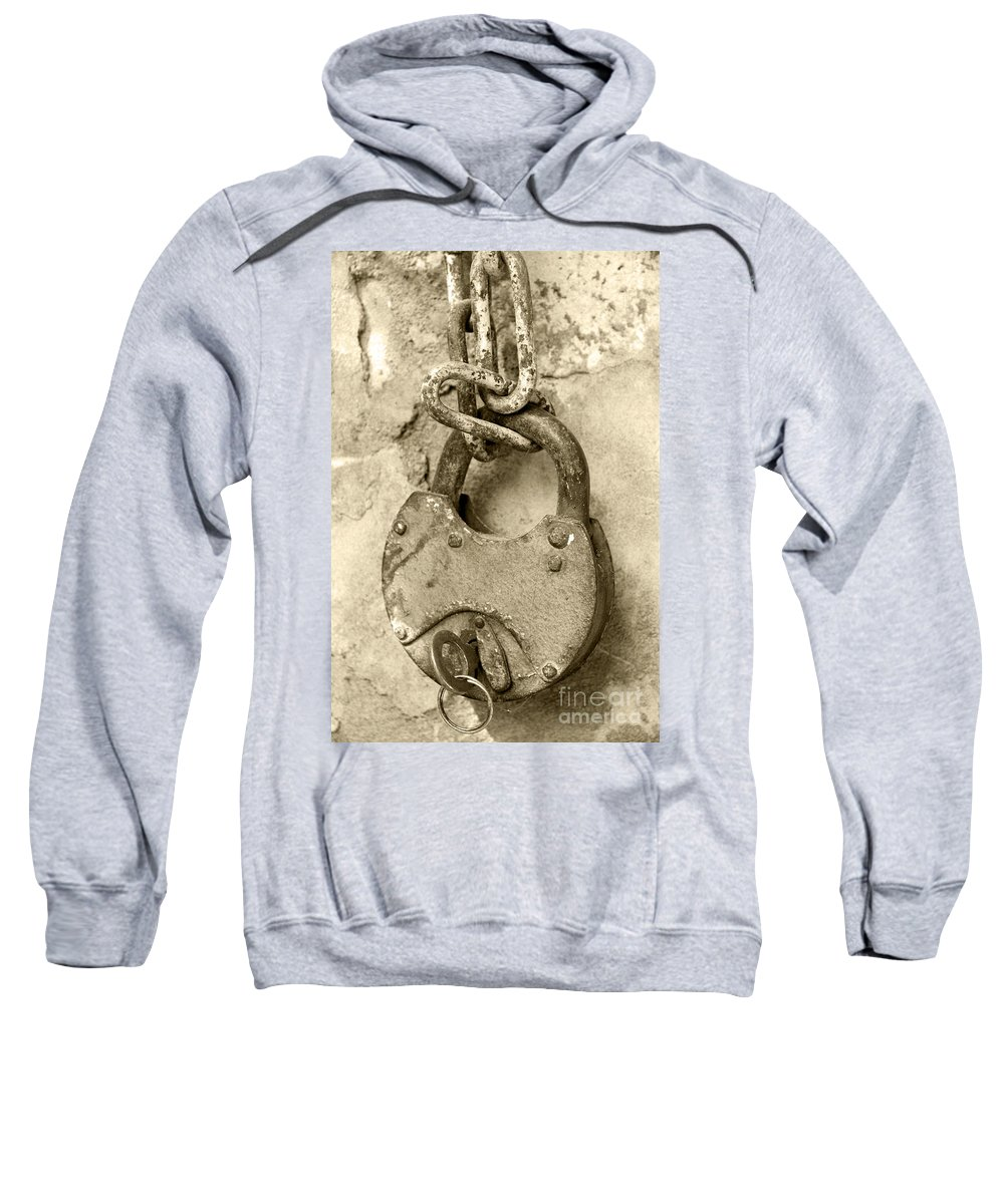 Chain Sweatshirt featuring the photograph Old Padlock by Lali Kacharava