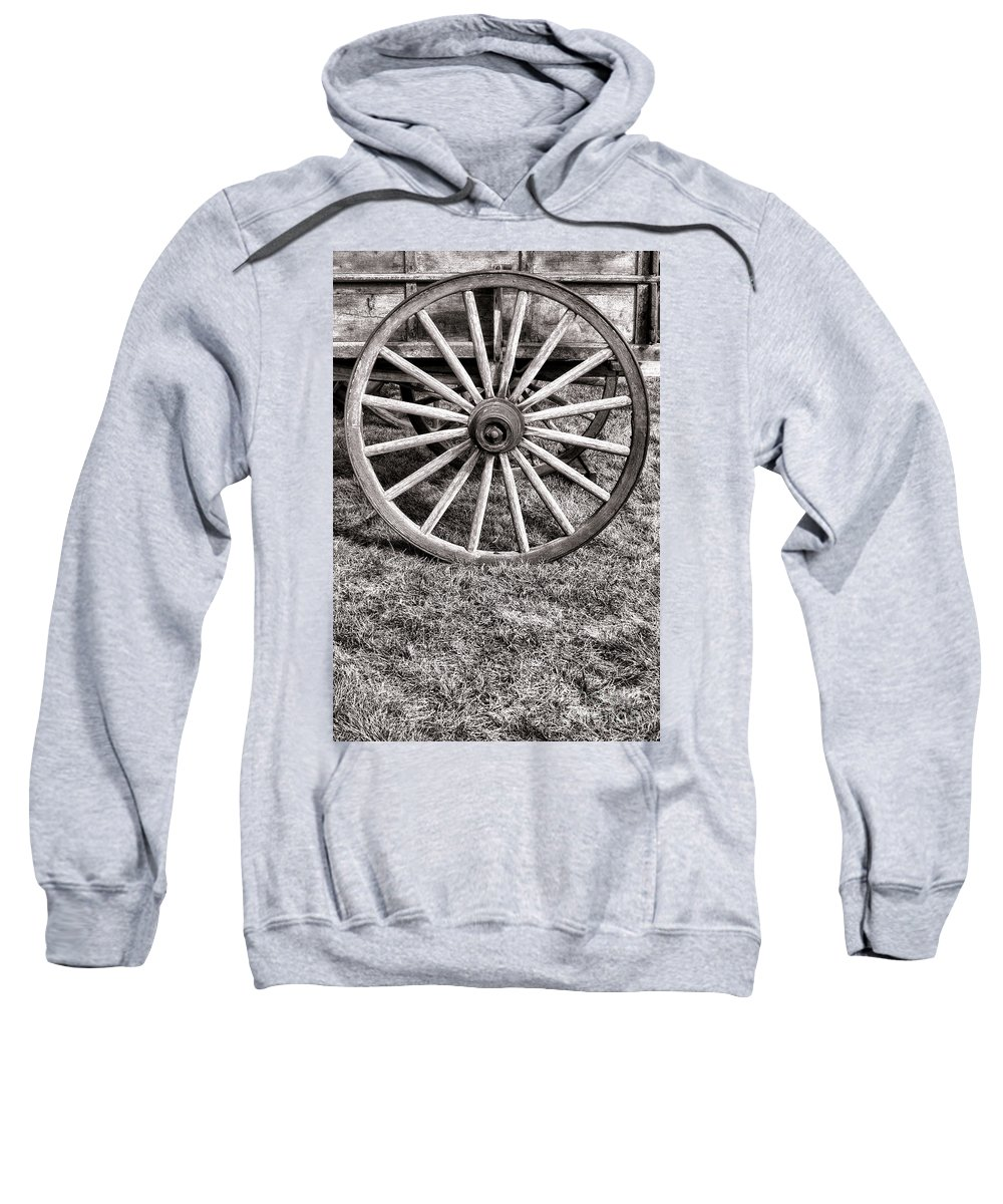 Schooner Sweatshirt featuring the photograph Old Wagon Wheel On Cart by Olivier Le Queinec