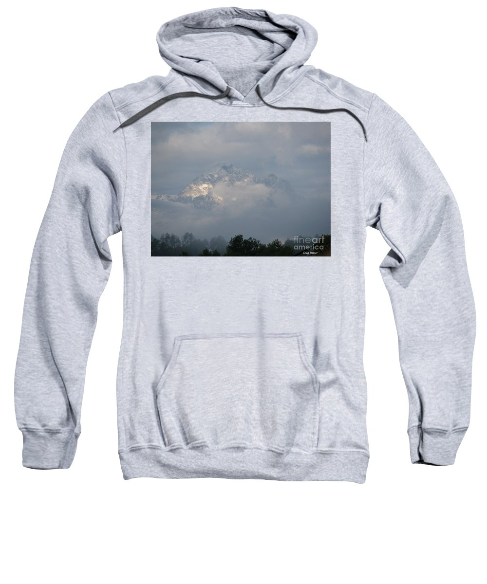 Rocky Mountains Sweatshirt featuring the photograph Out Of The Clouds by Greg Patzer