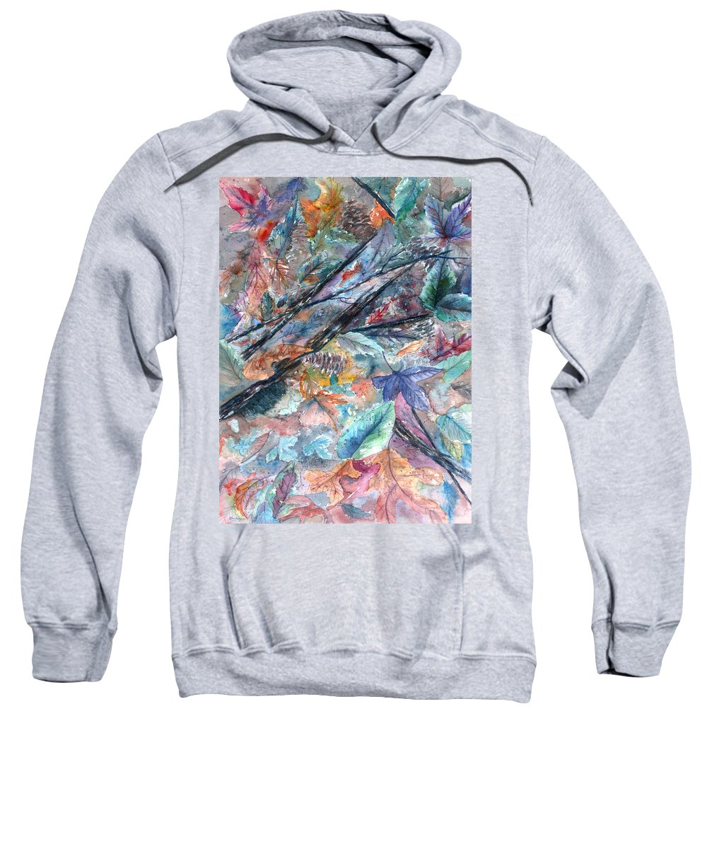 Pine Cones Sweatshirt featuring the painting Pattern of Leaves by Ben Kiger