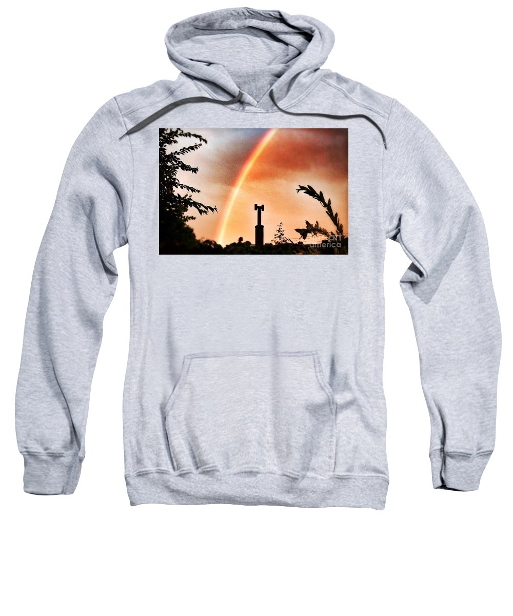 Rainbow Sweatshirt featuring the photograph Rainbow Over The City by Nick Biemans