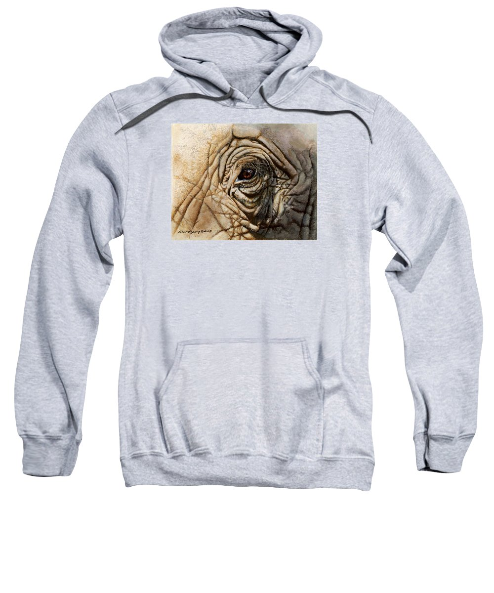 Elephant Sweatshirt featuring the painting Reflections Of Africa by Sherryl Lapping