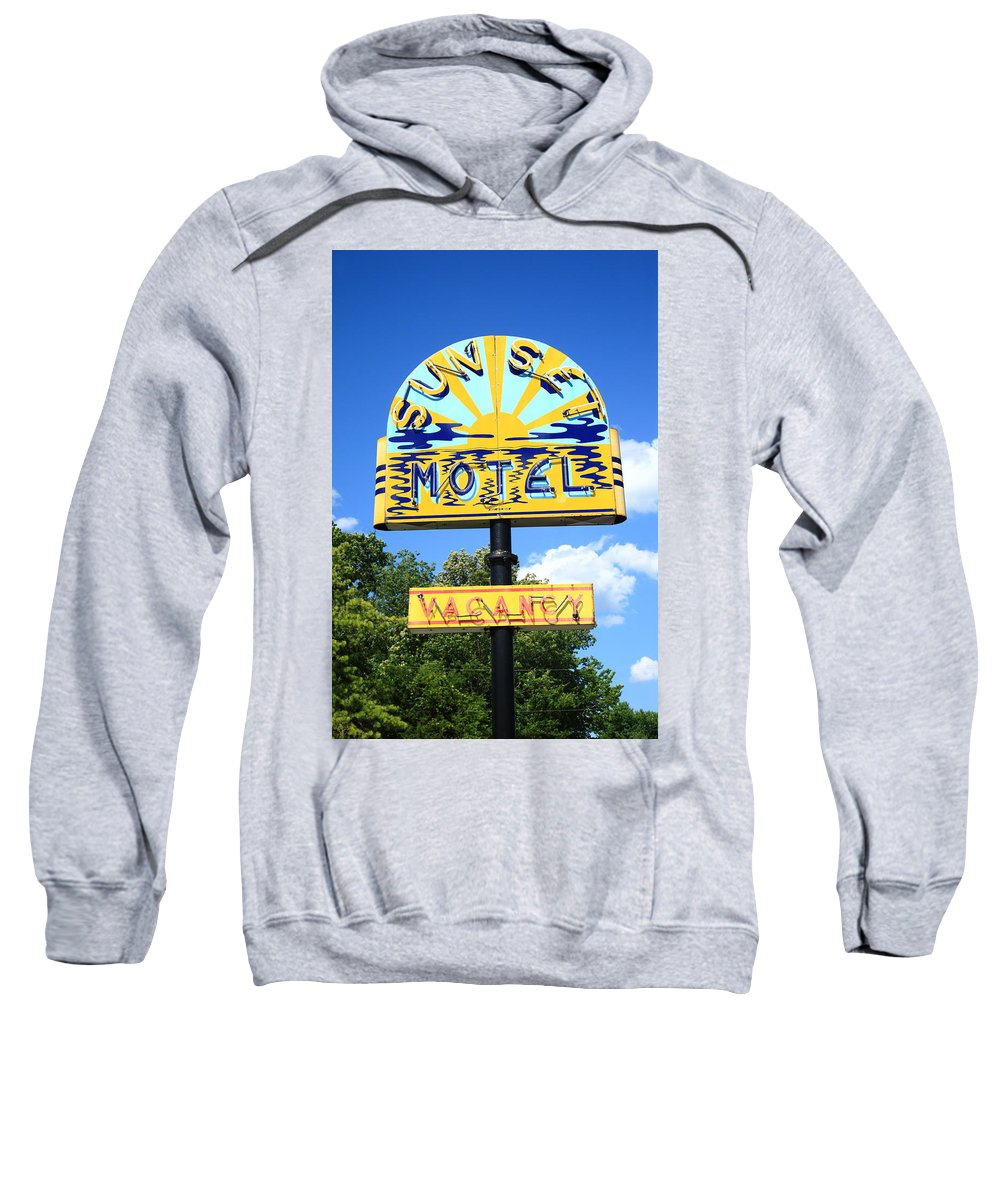 66 Sweatshirt featuring the photograph Route 66 - Sunset Motel by Frank Romeo