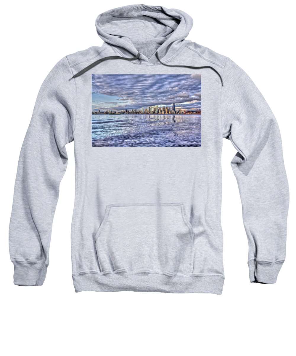 Beach Sweatshirt featuring the photograph Seattle Skyline Cityscape by SC Heffner