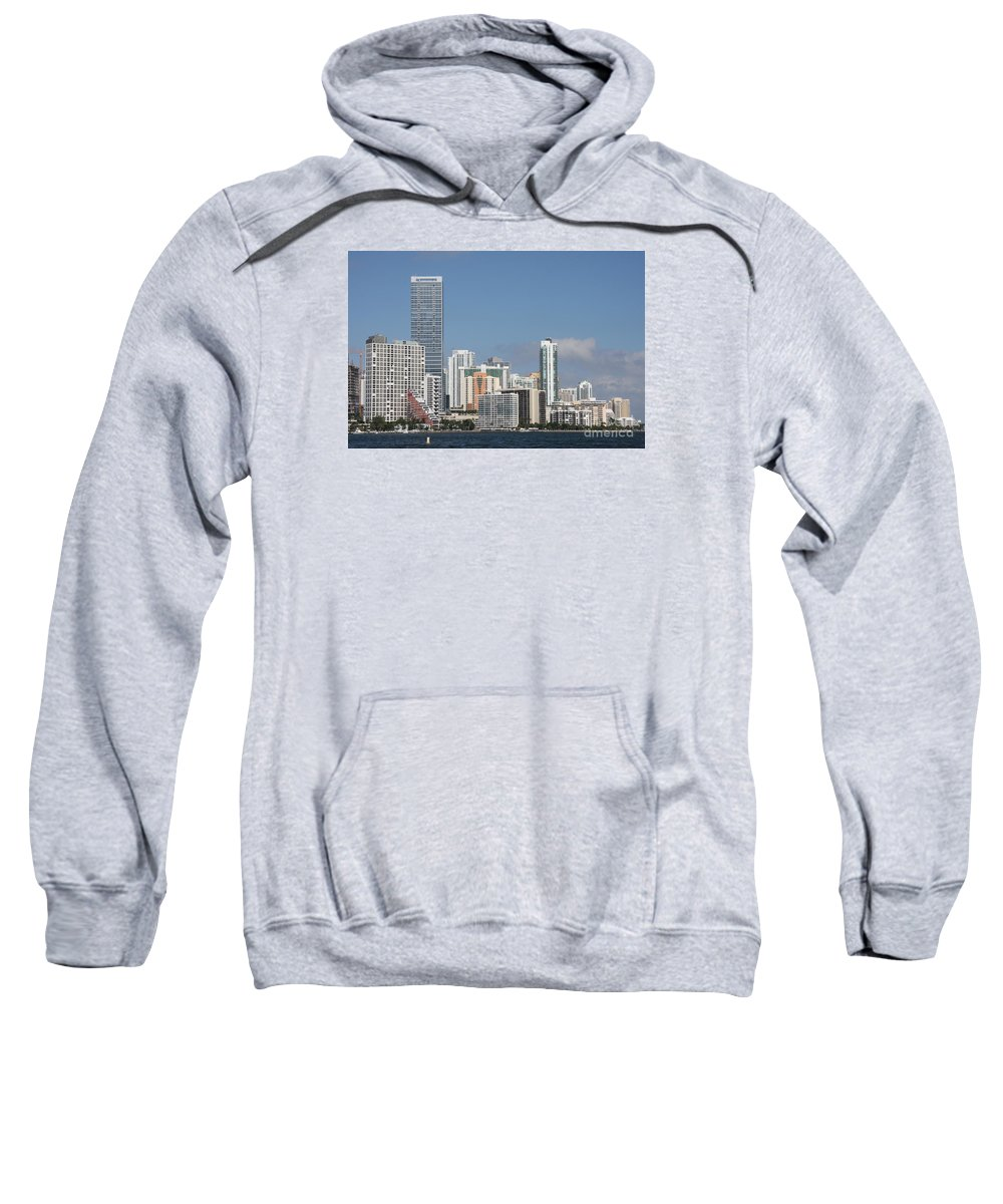 Miami Sweatshirt featuring the photograph Skyline Miami by Christiane Schulze Art And Photography