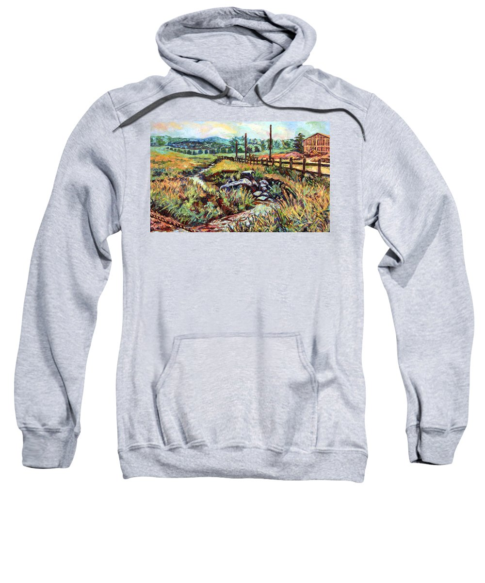 Landscape Paintings Sweatshirt featuring the painting Stroubles Creek by Kendall Kessler