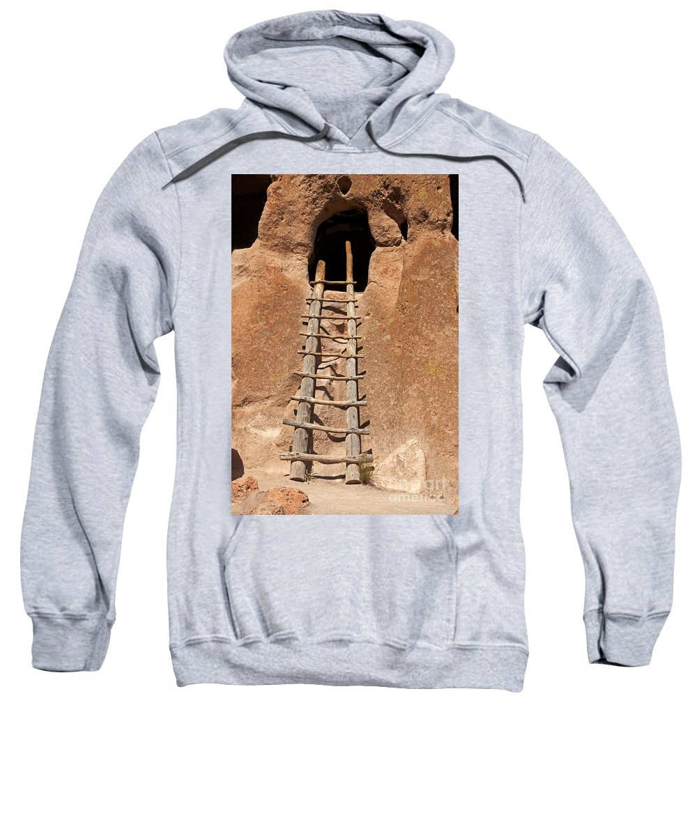 Afternoon Sweatshirt featuring the photograph Talus House Front Door Bandelier National Monument by Fred Stearns