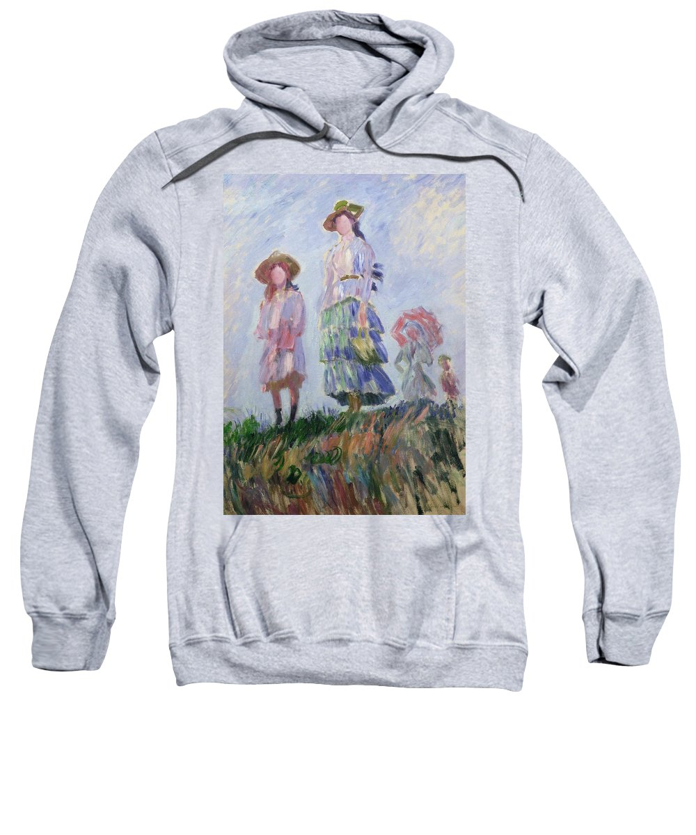 French Sweatshirt featuring the painting The Walk by Claude Monet