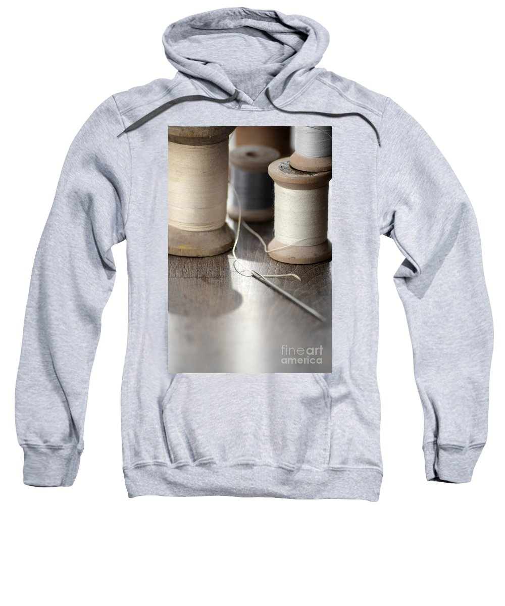 Vintage Spools Of Thread And Needle. Sweatshirt featuring the photograph Thread And Needle by Jill Battaglia