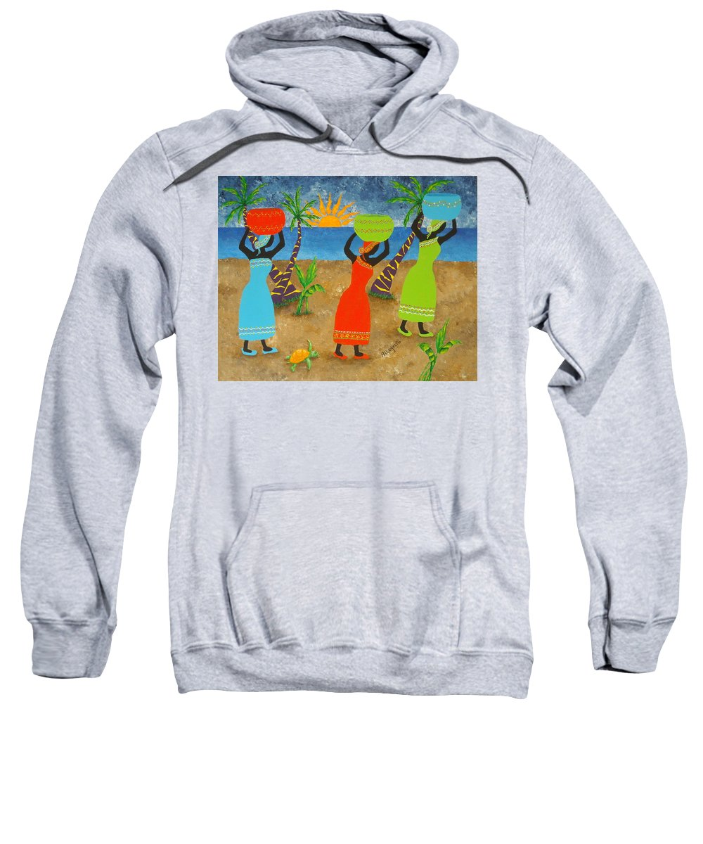 Allegretto Art Sweatshirt featuring the painting To Market by Pamela Allegretto
