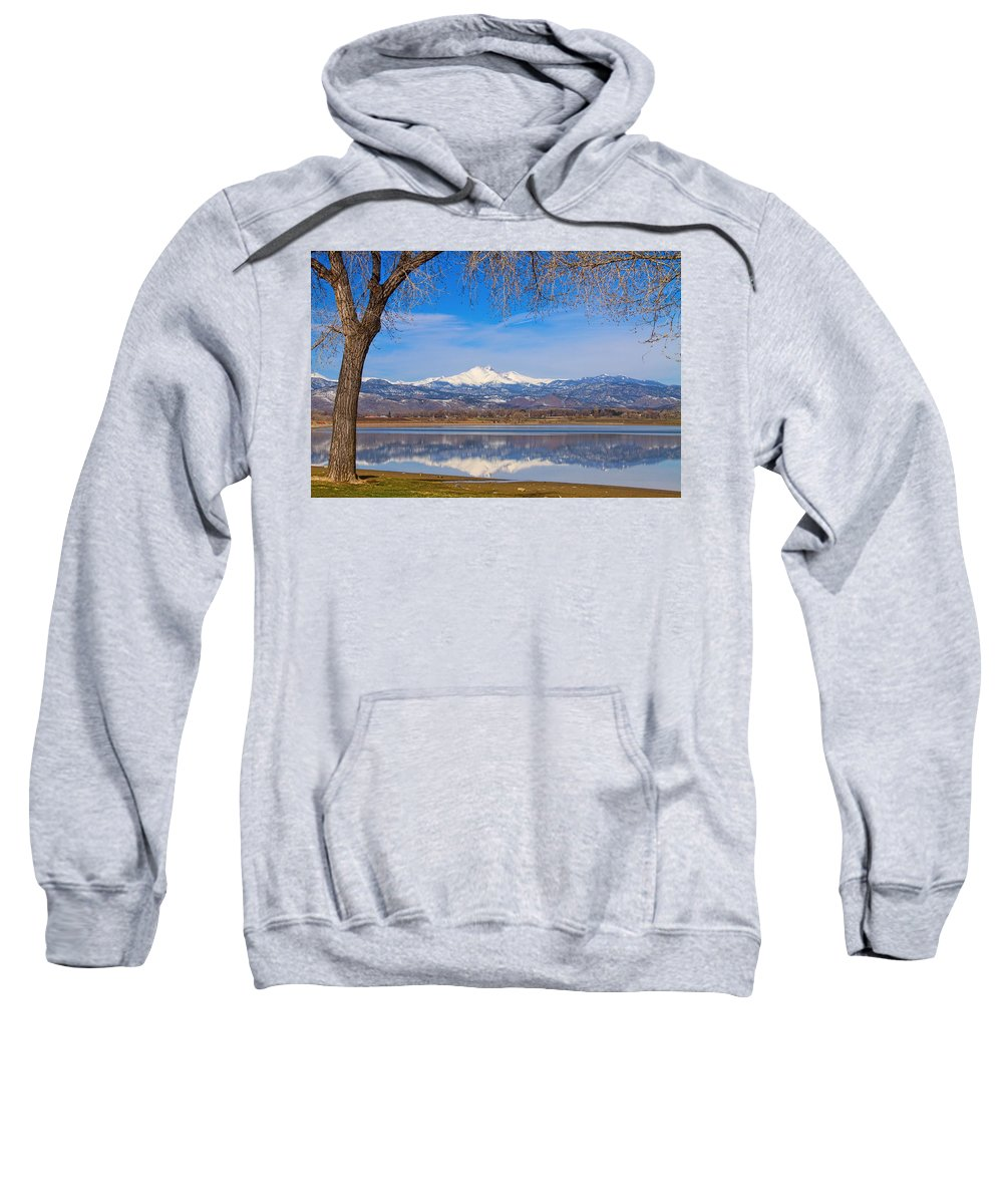 Mountains Sweatshirt featuring the photograph Twin Peaks Longs And Meeker Lake Reflection by James BO Insogna