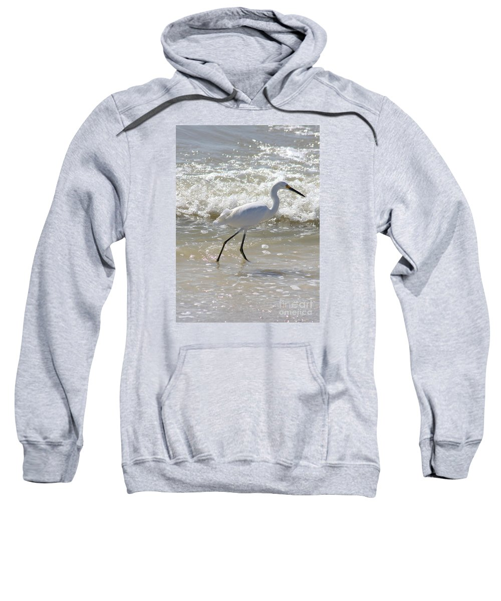 Snowy Egret Sweatshirt featuring the photograph Walking by Christiane Schulze Art And Photography