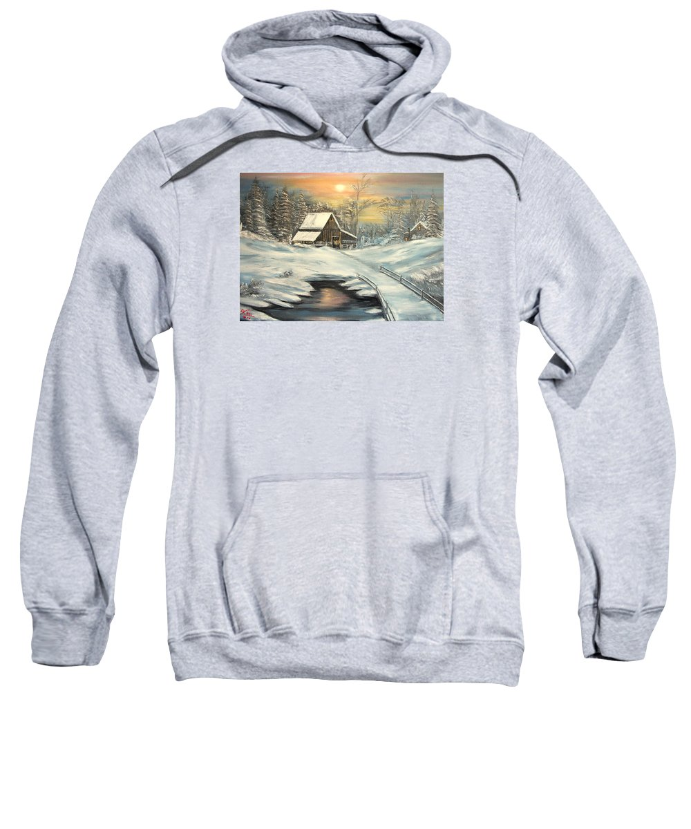 Winter Sweatshirt featuring the painting Winter by Kenneth LePoidevin