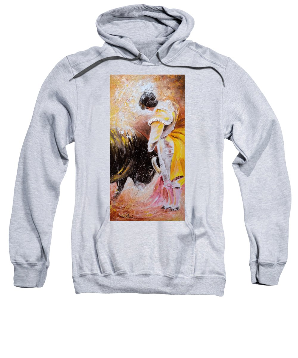 Bullfight Sweatshirt featuring the painting 2010 Toro Acrylics 03 by Miki De Goodaboom