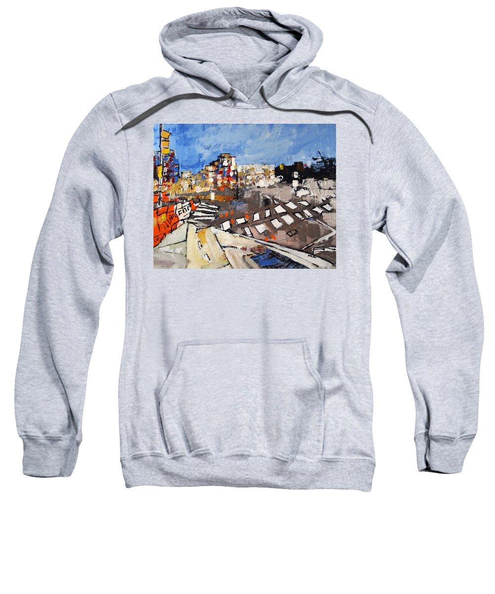 Virginia Sweatshirt featuring the painting 2013 015 Crosswalk Silver Orange And Blue Arlington Virginia by Alyse Radenovic