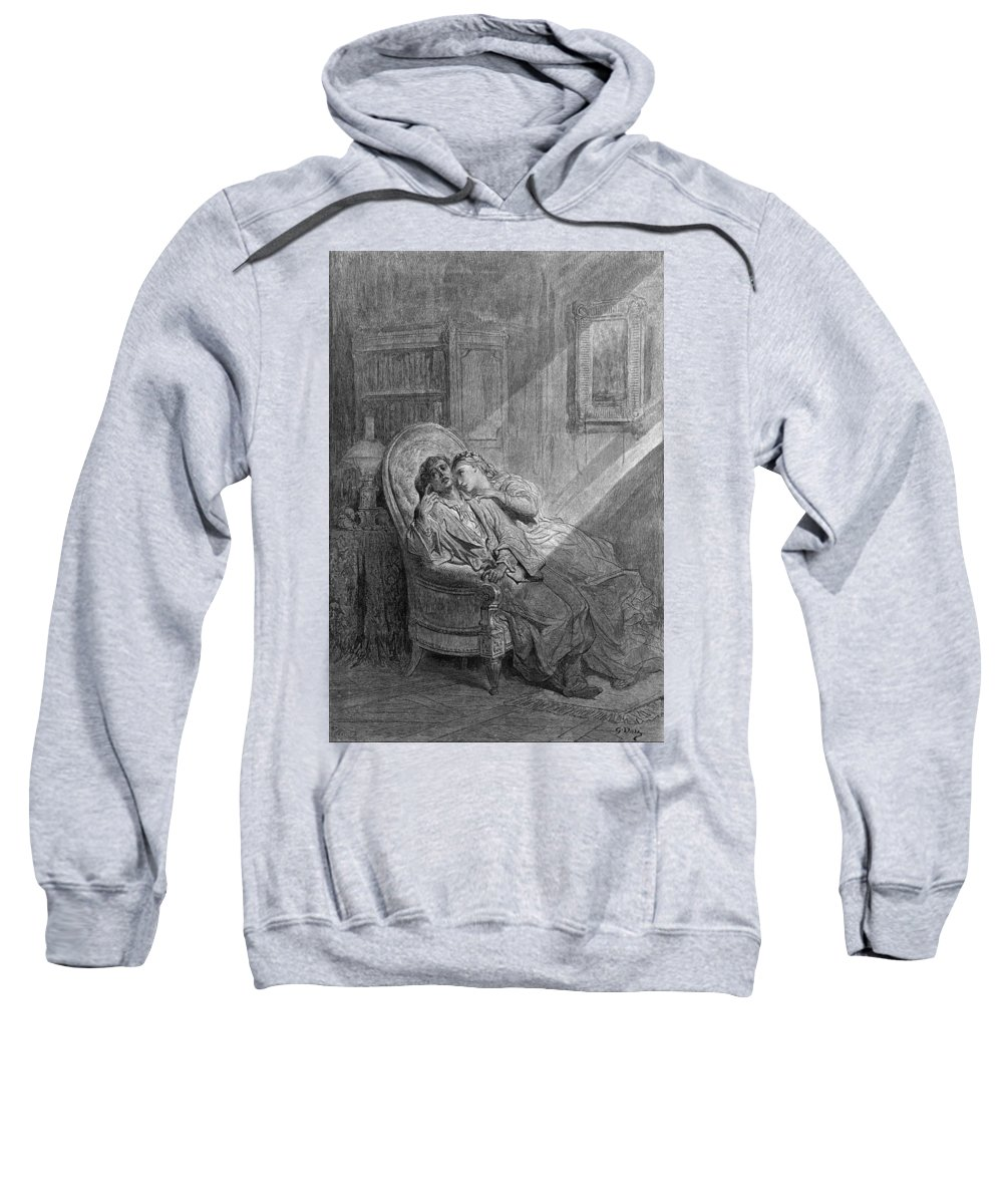 1882 Sweatshirt featuring the drawing Dor� The Raven, 1882 by Granger