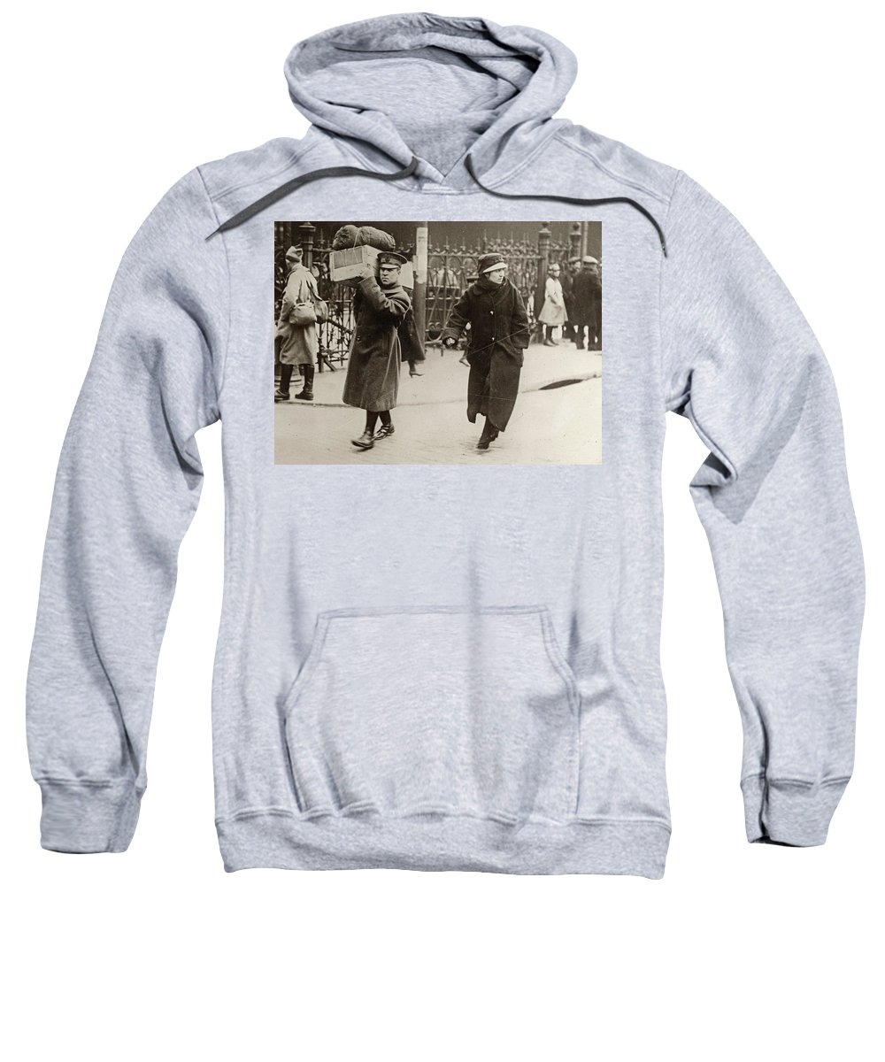 1918 Sweatshirt featuring the photograph Wwi Refugees, 1918 by Granger