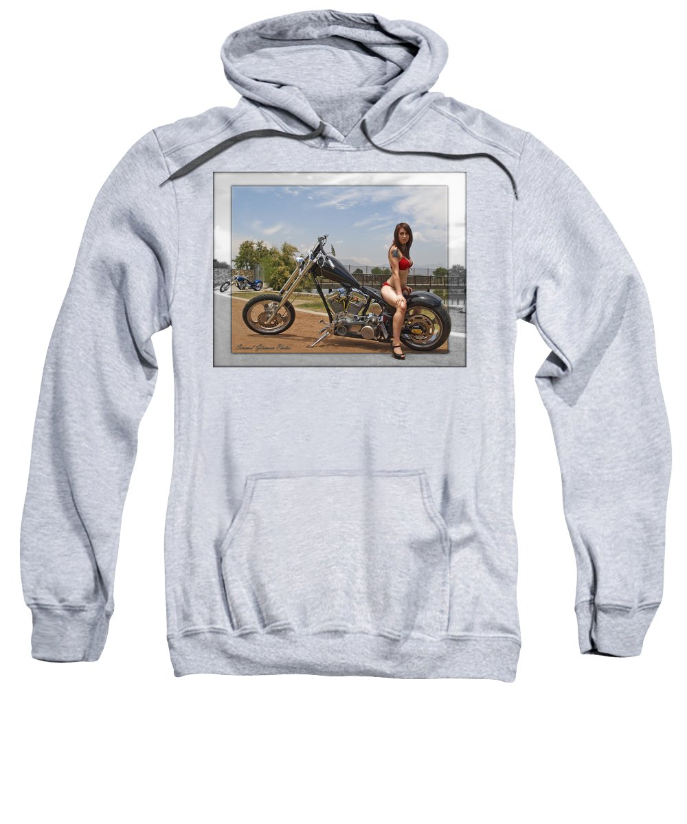 Models & Motorcycles Sweatshirt featuring the photograph Models And Motorcycles by Walter Herrit