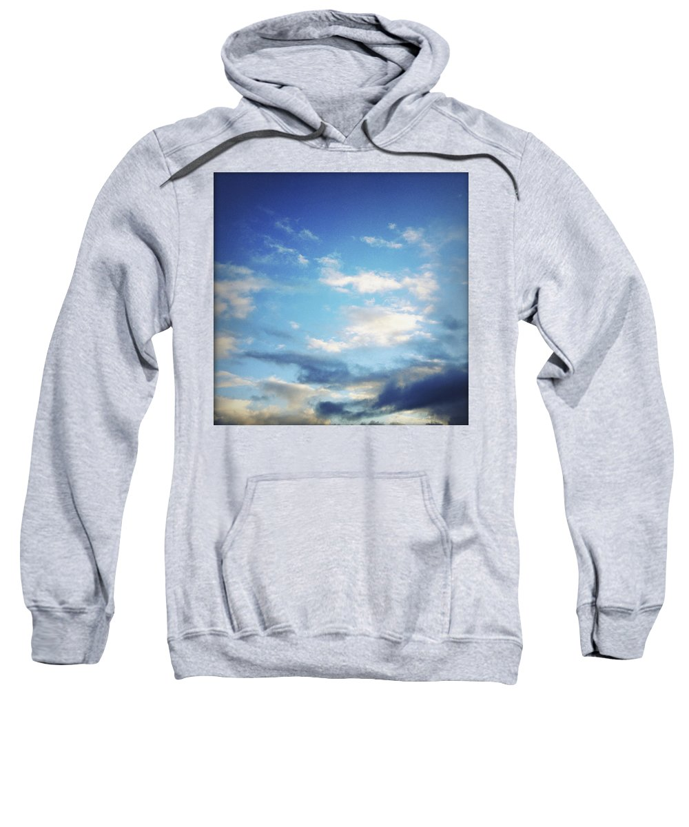 Blue Sweatshirt featuring the photograph Clouds by Les Cunliffe