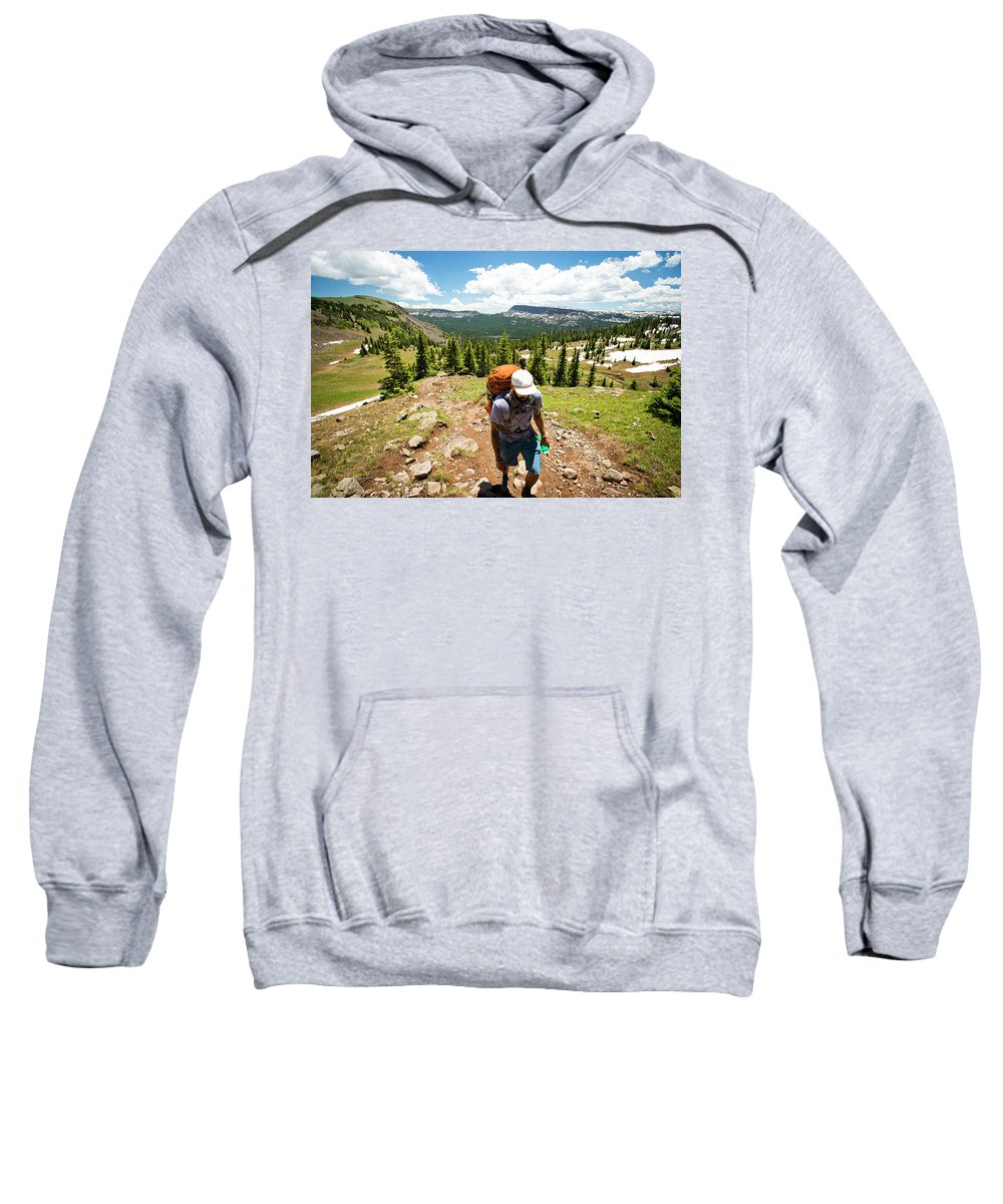 Day Sweatshirt featuring the photograph A Backpacker Hiking by Rob Hammer